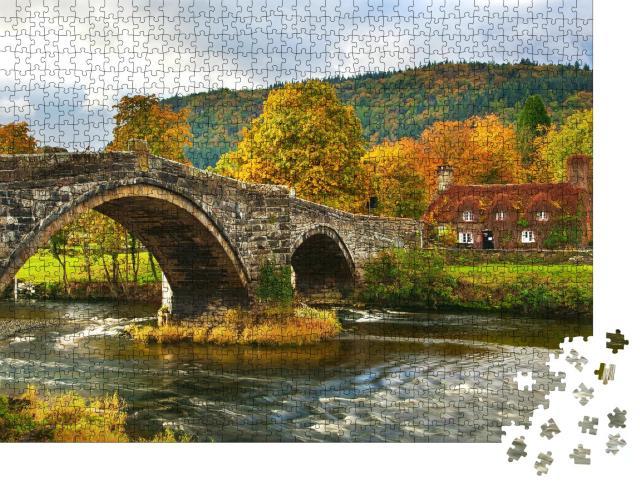 """Puzzle 1000 Teile """"llanwrst Bridge, Snowdonia, Nordwales, Großbritannien"""""""