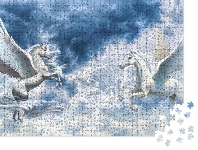 """Puzzle 1000 Teile """"3D-Tapete: Engel, Pferde, Hintergrund"""""""