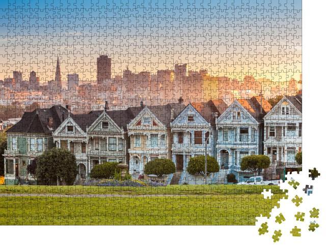 """Puzzle 1000 Teile """"Die Painted Ladies von San Francisco, Viktorianische Häuser in Kalifornien, USA"""""""