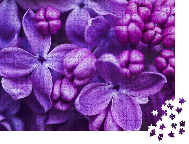 """Puzzle 1000 Teile """"Frühling mit violetten Blumen"""""""