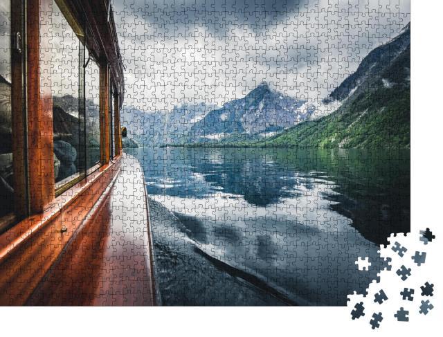 """Puzzle 1000 Teile """"Traditionsschiff auf dem berühmten Königssee, Berchtesgadener Land, Bayern"""""""