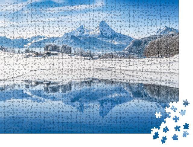 """Puzzle 1000 Teile """"Traumhafte Winterlandschaft der Alpen: Panorama auf verschneite Gipfel"""""""