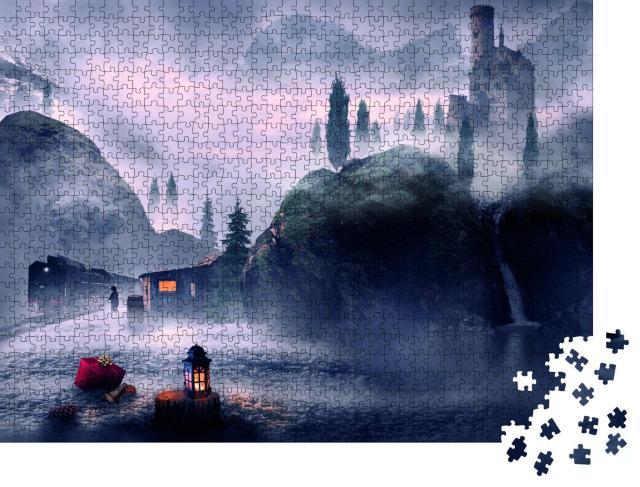 """Puzzle 1000 Teile """"Fantasy: Der geheimnisvolle Bahnhof"""""""
