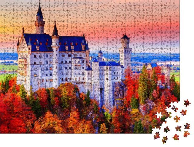 """Puzzle 1000 Teile """"Neuschwanstein, Märchenschloss von König Ludwig II."""""""