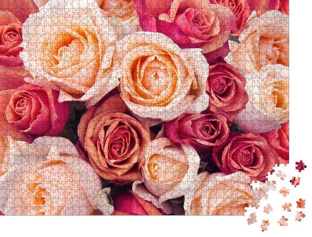 """Puzzle 1000 Teile """"Rosa, orange und pfirsichfarbene Rosen"""""""