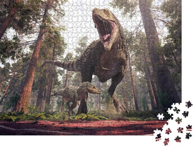 """Puzzle 1000 Teile """"3D-Rendering des Tyrannosaurus Rex und seines Jungtiers"""""""