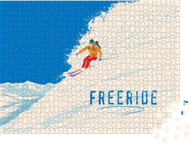 """Puzzle 1000 Teile """"Illustration: Freerider am Steilhang"""""""