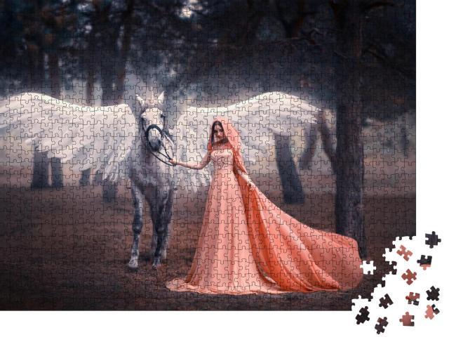 """Puzzle 1000 Teile """"Künstlerische Fotografie: Junge Elfenfrau  mit ihrem geflügelten Einhorn"""""""