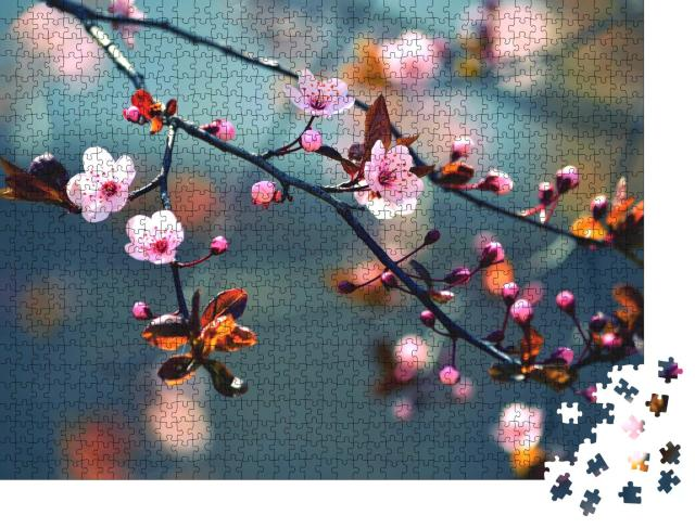 """Puzzle 1000 Teile """"Wunderschön blühende japanische Kirsche"""""""