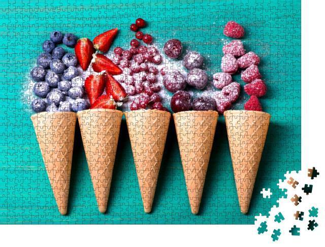 """Puzzle 1000 Teile """"Eiswaffeln, gefüllt mit frischen Früchten"""""""