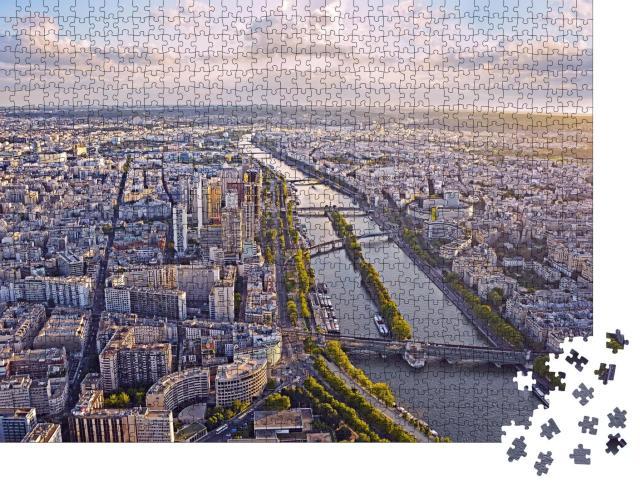 """Puzzle 1000 Teile """"Blick vom Eiffelturm: Paris am Abend"""""""