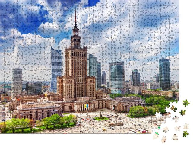 """Puzzle 1000 Teile """"Luftaufnahme: Palast der Kultur und Wissenschaft mit Wolkenkratzern, Warschau"""""""