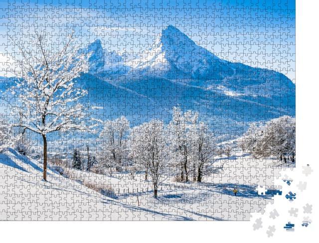 """Puzzle 1000 Teile """"Berchtesgaden und Watzmann-Massiv bei Sonnenaufgang, Berchtesgadener Land, Deutschland"""""""