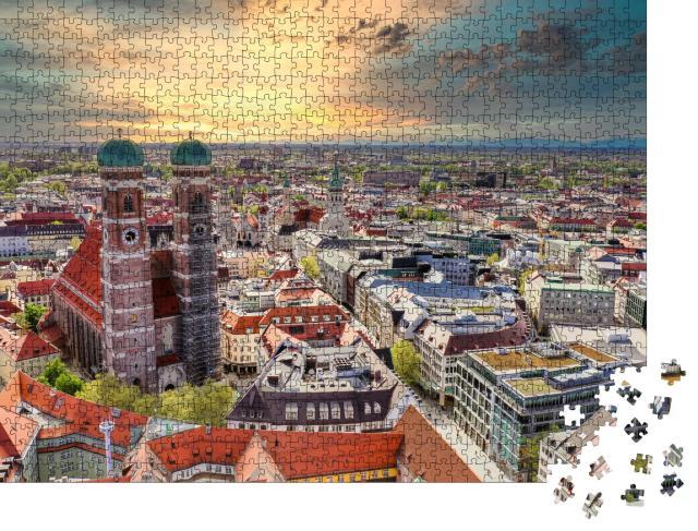 """Puzzle 1000 Teile """"München im Sonnenuntergang, Bayern, Deutschland"""""""