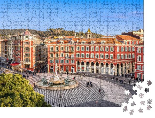 """Puzzle 1000 Teile """"Luftaufnahme von Place Massena mit Brunnen, Nizza, Frankreich"""""""