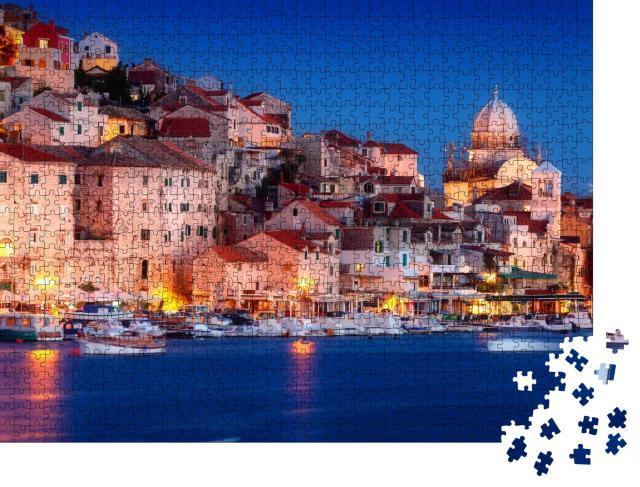 """Puzzle 1000 Teile """"Altstadt von Sibenik bei Nacht, Kroatien"""""""