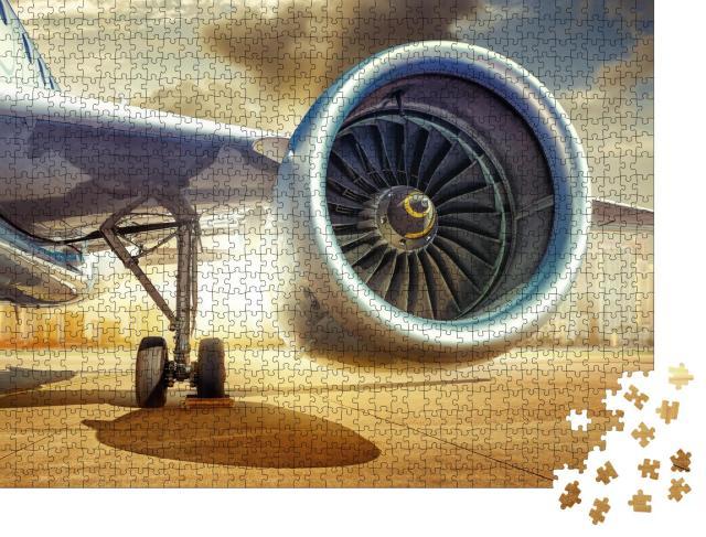 """Puzzle 1000 Teile """"Detailansicht: Triebwerk eines Verkehrsflugzeugs"""""""