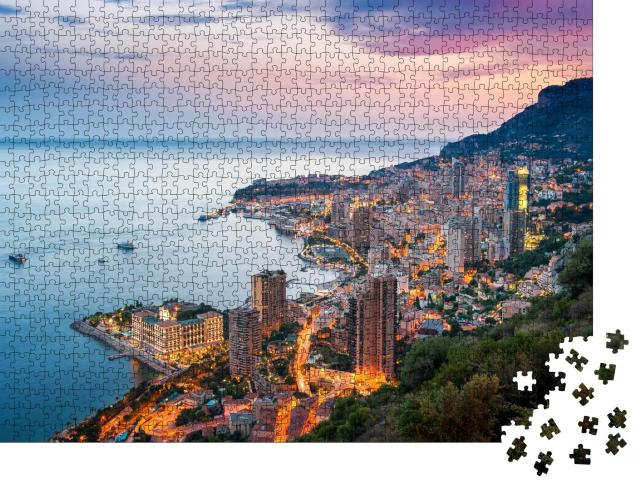 """Puzzle 1000 Teile """"Abend an der Côte d'Azur in Montecarlo, Monaco"""""""