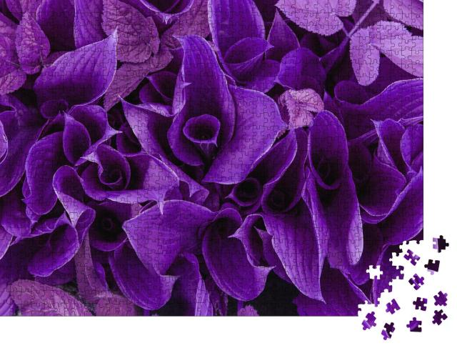 """Puzzle 1000 Teile """"Blüten und Blätter in Violett"""""""