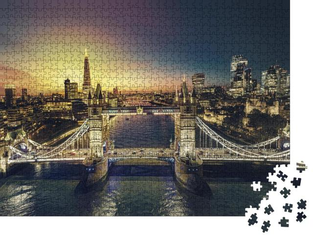 """Puzzle 1000 Teile """"Sonnenuntergang in London"""""""