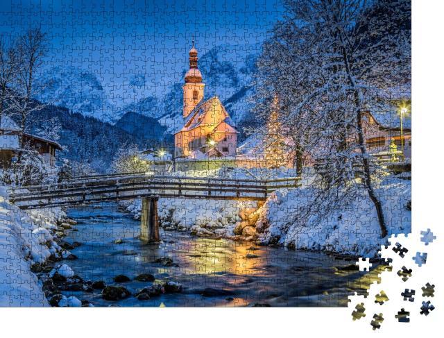 """Puzzle 1000 Teile """"Weihnachtliche Wallfahrtskirche Sankt Sebastian, Berchtesgadener Land, Deutschland"""""""