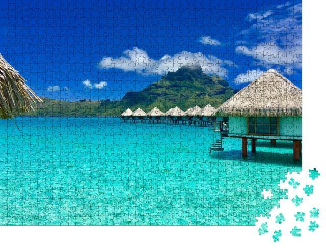 """Puzzle 1000 Teile """"Überwasser-Bungalows eines Luxus-Resorts, Bora Bora, Tahiti, Französisch-Polynesien"""""""