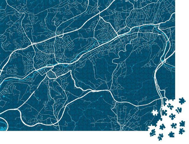 """Puzzle 1000 Teile """"Vektor-Illustration der Stadt Wuppertal"""""""