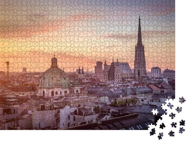 """Puzzle 1000 Teile """"Wiener Skyline mit Stephansdom, Österreich"""""""
