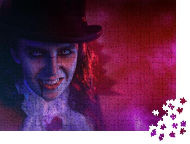 """Puzzle 1000 Teile """"Porträt eines heimtückischen Vampirs mit Zylinder, Halloween"""""""