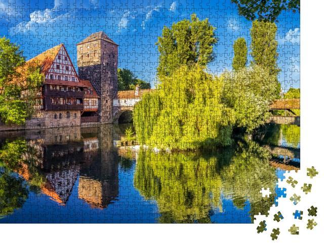 """Puzzle 1000 Teile """"Die historische Altstadt von Nürnberg an der Pregnitz"""""""