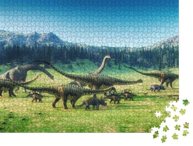 """Puzzle 1000 Teile """"Dinosaurier auf dem Tal, 3D-Illustration"""""""