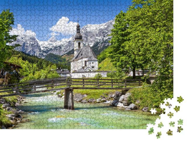 """Puzzle 1000 Teile """"Malerische Berglandschaft mit Pfarrkirche St. Sebastian im Dorf Ramsau"""""""