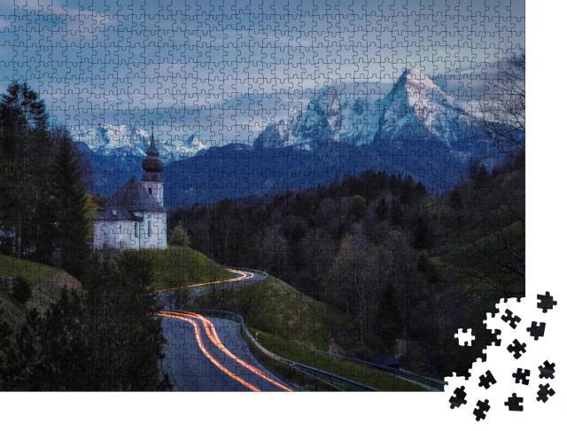 """Puzzle 1000 Teile """"Maria-Gern-Kapelle oberhalb von Berchtesgaden mit Watzmann"""""""
