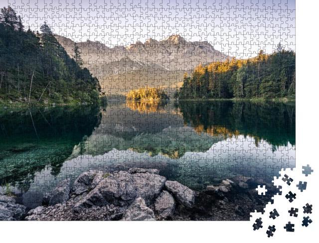 """Puzzle 1000 Teile """"Zugspitze vom Eibsee aus fotografiert"""""""
