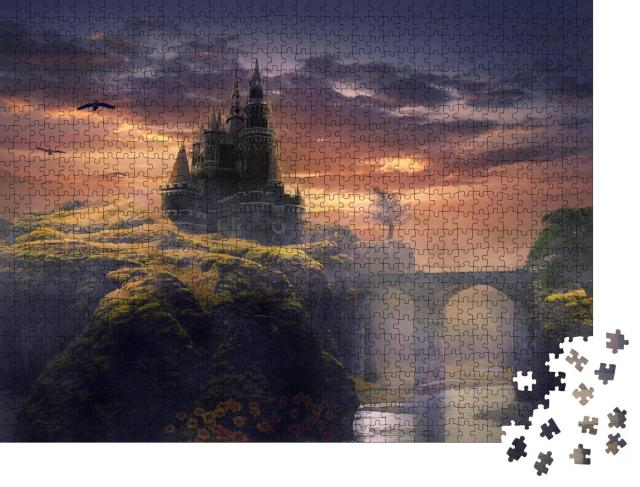 "Puzzle 1000 Teile ""Digitale Kunst: Düsteres Schloss in der Dämmerung"""