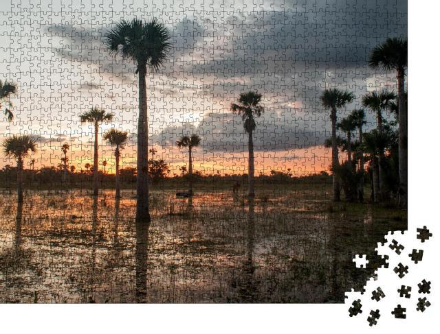 """Puzzle 1000 Teile """"Sonnenuntergang am mystischen Zapata-Sumpf, Kuba"""""""