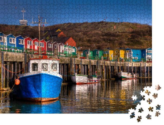 """Puzzle 1000 Teile """"Die Hummerbuden im Hafen der Insel Helgoland"""""""