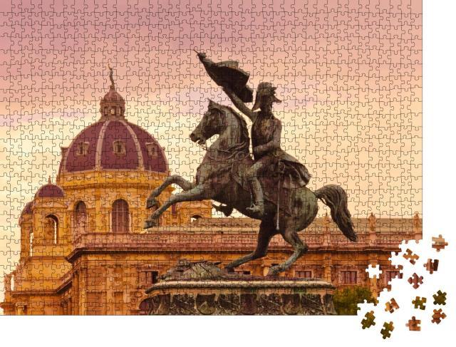 """Puzzle 1000 Teile """"Statue des Erzherzogs Karl in Wien, Österreich"""""""