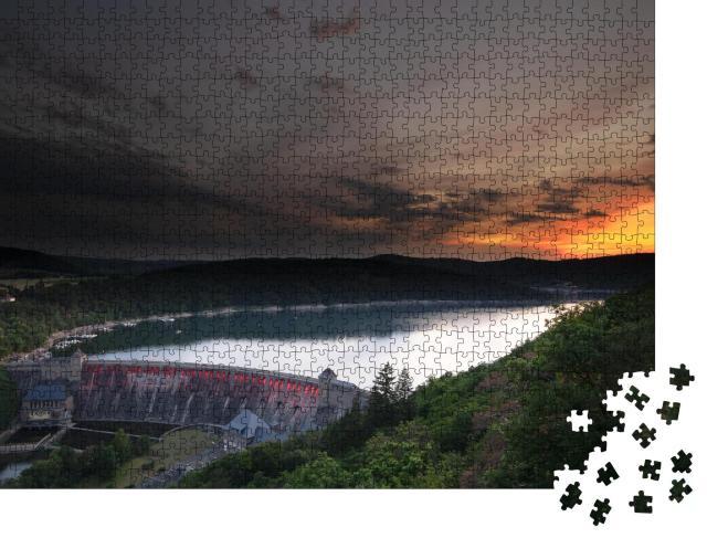 """Puzzle 1000 Teile """"Blick vom Aussichtspunkt Kleine Kanzel am Edersee bei Sonnenuntergang"""""""