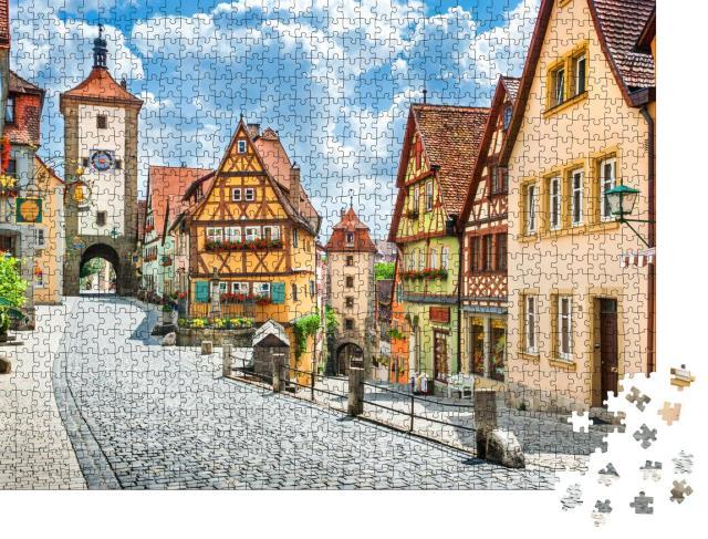 """Puzzle 1000 Teile """"Malerische Stadt Rothenburg ob der Tauber, Bayern, Deutschland"""""""