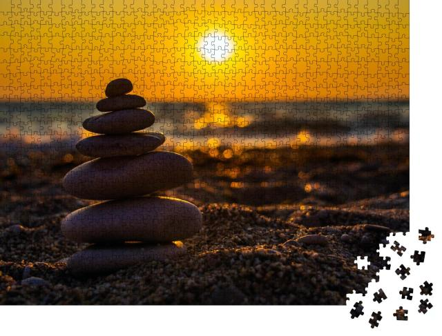 """Puzzle 1000 Teile """"Harmonie und Meditation: Zen-Steine am Strand"""""""