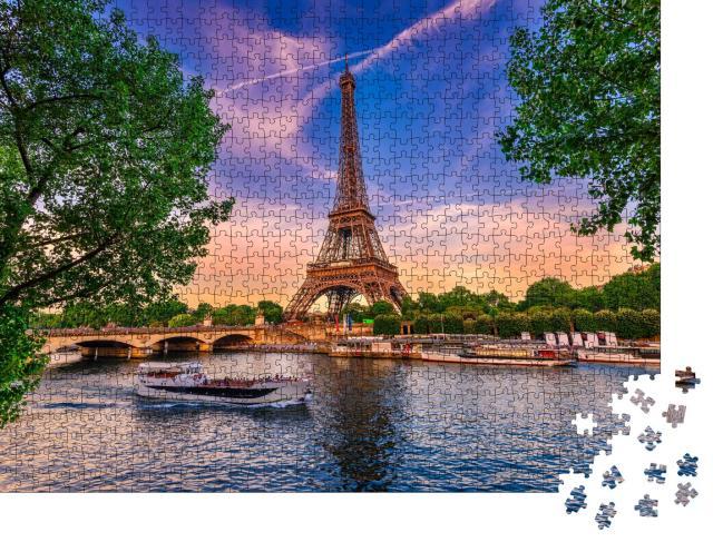 """Puzzle 1000 Teile """"Eiffelturm und Fluss Seine bei Sonnenuntergang in Paris, Frankreich"""""""