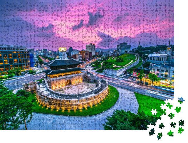 """Puzzle 1000 Teile """"Das Dongdaemun Tor in Seoul, Südkorea"""""""