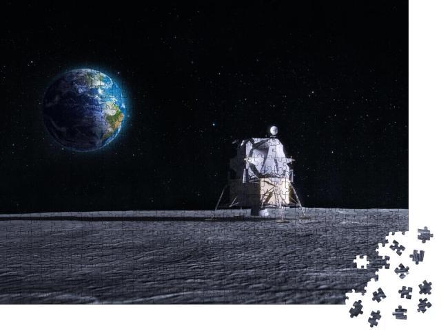 """Puzzle 1000 Teile """"Digitale Kunst: Mondlandefähre nach dem Raumschiff der Apollo-Mission"""""""