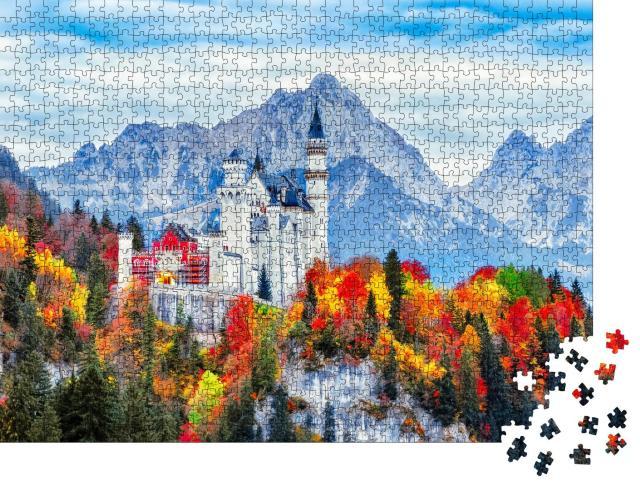 """Puzzle 1000 Teile """"Schloss Neuschwanstein: ein Wahrzeichen von Bayern im Herbst, Deutschland"""""""