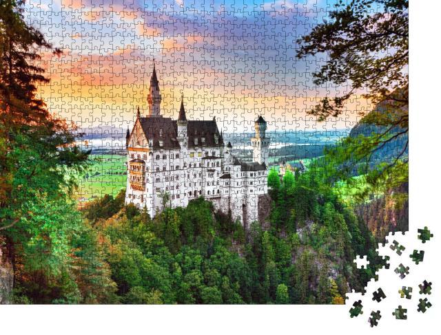 """Puzzle 1000 Teile """"Neuschwanstein, Märchenschloss bei Füssen in Bayern"""""""