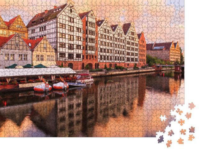 """Puzzle 1000 Teile """"Altstadt von Danzig mit dem Fluss Motlava, Polen"""""""