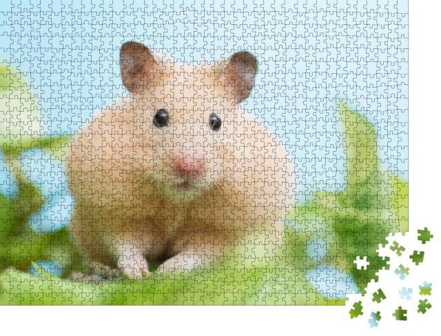 """Puzzle 1000 Teile """"Goldhamster umringt von grünen Blättern"""""""