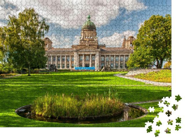 """Puzzle 1000 Teile """"Das hanseatische Oberlandesgericht im Park Planten un Blomen in Hamburg"""""""