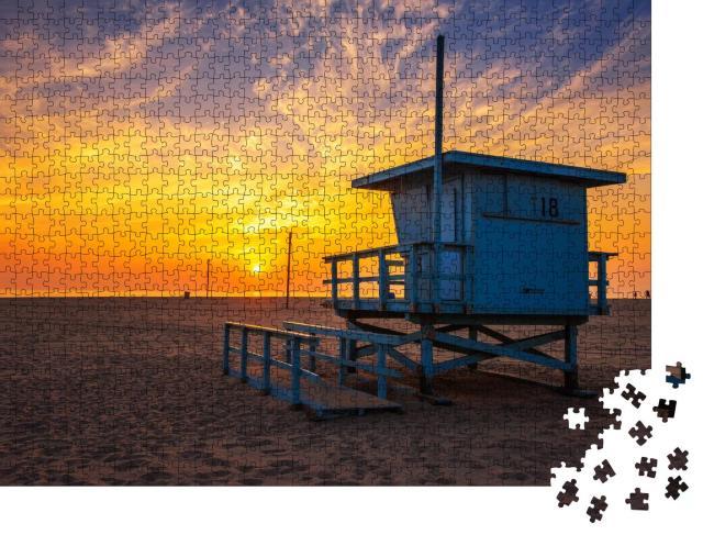 "Puzzle 1000 Teile ""Sonnenuntergang am Strand von Santa Monica, Los Angeles"""